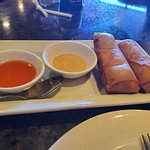 Spring Rolls (egg rolls) with Mustard and Sweet 'n Sour Sauce