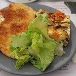 Escalope de poulet, flan aux légumes