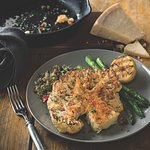 Cauliflower Steak - Oven roasted with a parmesan crust and basil sauce with lentil quinoa salad.