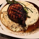 16oz pork chop with whiskey grits! Great!