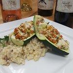 Stuffed zucchini over risotto  Mynonnos.com.  or 619 337 9559 call