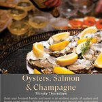 Oyster and cured salmon night with Champagne every Thursday night from 1730 to 1900.