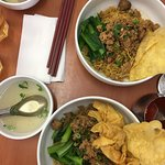 Yamien with beef balls and fried wonton