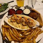 Seafood platter. Lobster mac-n-cheese, fried stuffed crab, catfish filet, shimp skewer and fries