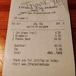 our bill at the Ithaca ale House.
