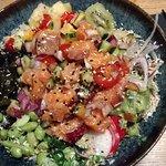 Delicious salmon poke bowl
