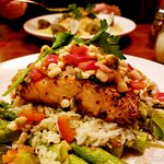 Grilled salmon with corn and asparagus