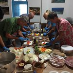 All participant in the kitchen preparing the Cachupa