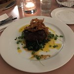 Snake River Farms Wagyu Beef Tenderloin with habenero hot sauce emulsion, spinach, and crispy on