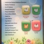 Bulaşık Makine Deterjan ve Parlatıcı, Sıvı El Sabun,  Bulaşık Deterjan, Yüzey Temizleyici, Pas ve Kireç Çözücü,  Yağ Sökücü,  Leke Sökücü,   Mavi Su,  Mineralli Ovma Kremi,  Halı Şampuanı,  Çamaşır Yumuşatıcısı, Çamaşır Suyu, Camsil, Köpük Sabun, Şampuan