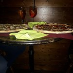 Table was a bit small for the pizza !!