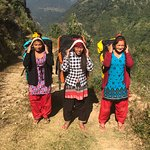 Three young women from a local village served as trek porters.