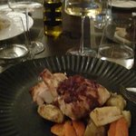 Chicken Supreme served with turnips, beetroot and a winter berry sauce - ... you can not call this berry sauce....