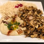 Chicken Shawarma with Rice and Hummus
