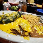 Beef stuffed pepper, beef enchilada w/queso sauce, beans and rice, YUMMY!!!