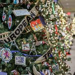 Two dozen trees decorated with handmade ornaments by Connecticut schoolchildren