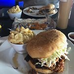 Behold the Carolina pulled pork sandwich! Picked a side of mac and cheese. Brisket sandwich is i