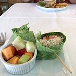 Chicken salad wrap with a side of fruit (it's a whole lotta food!)