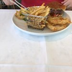Delicious burger with fries in cute mini-fry basket!