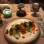 Очень вкусный лосось в сливочном соусе из нового меню.