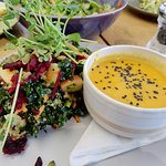 This is the Bowl of Soup (soup of the day - Thai peanut soup) with a small Sol Salad - Wonderlan