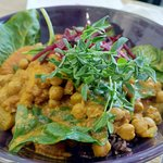 Madras Chickpea & Vegetarian Curry. And it has multigrain rice below!