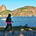 Running across Flamengo Park to the Sugar Loaf