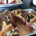 Smoked meat on marble rye