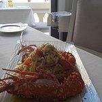 Linguine (Pasta fresca dello Chef) con Aragosta di fondale  e pomodorini BIO