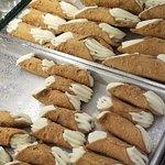 Cannoli are delicious, at Cannoli King (Caffe Palermo) in Little Italy, NYC.