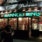 Outside of the restaurant, at Cannoli King (Caffe Palermo) in Little Italy, NYC.