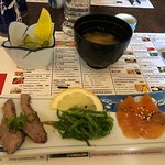 Miso soup and some small dishes for starter