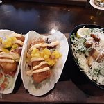 Halibut Tacos and caesar salad