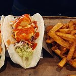 Bang Bang Shrimp Tacos & Fries