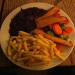 Bland venison stew, frozen chips and parsnips and boiled veg