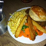 Frozen steak and ale pie, frozen chips and parsnips and boiled veg