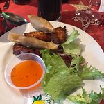 My starter chicken wings and duck rolls