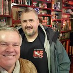 My friend and me at Mary's Bar & Hardware Shop