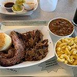 Brisket, pulled pork, cowboy beans, and Mac-n cheese