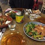 The mezze platter with hommos, baba ghanuj, tabbouleh, falafel, labneh, cheese samboussek, pita,