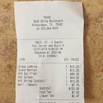 Texas - Dinner tab for two
