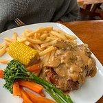 Overcooked steak but still yum.