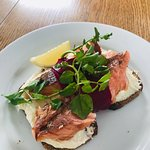 Delectable salmon and divine slivers of beetroot with creamy horseradish creme freche - ensure t