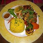 Fish picante with cornrice (corn and rice)