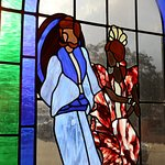 The stain glass windows are a work of art.