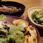 ゴーヤチャンプルと角煮と餃子サラダ