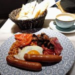 Full English with coffee and bread. Not too big but large enough.