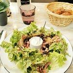 Salade forestière - 3 champignons (shiitake, cèpes et champignons de Paris), lardons, noix