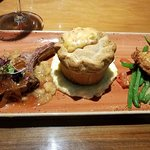 Crawdad pot pie in the middle