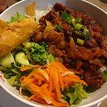 Grilled pork & egg/spring roll noodle salad
